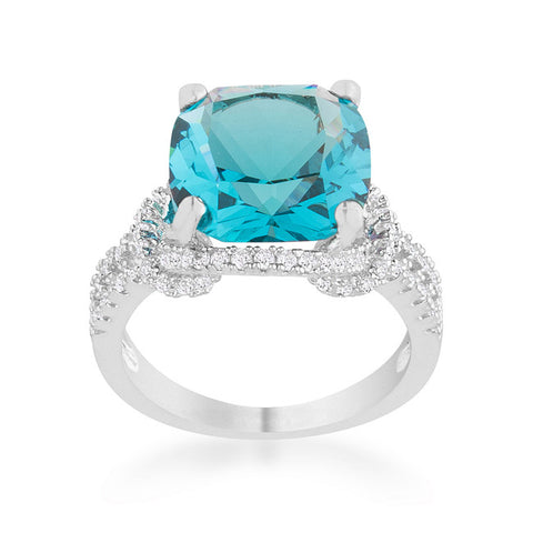 Charlene Aqua Blue Classic Statement Cocktail Ring | 8 Carat | Cubic Zirconia - Beloved Sparkles