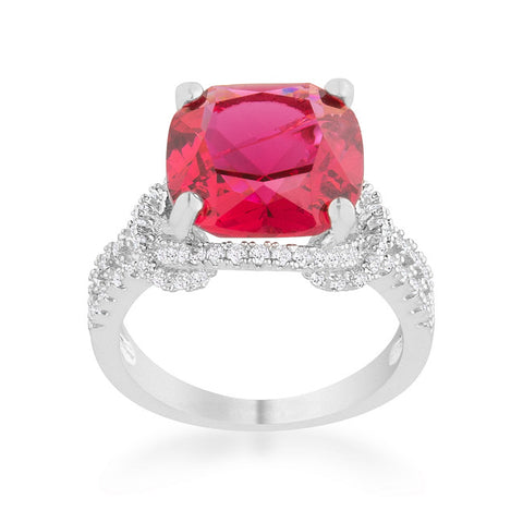 Charlene Ruby Red Classic Statement Cocktail Ring | 8ct | Cubic Zirconia | Silver