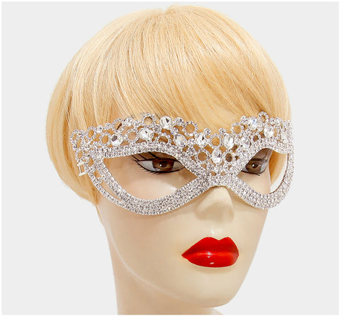 Chilati Circle Cluster Masquerade Mask | Silver | Crystal - Beloved Sparkles  - 2