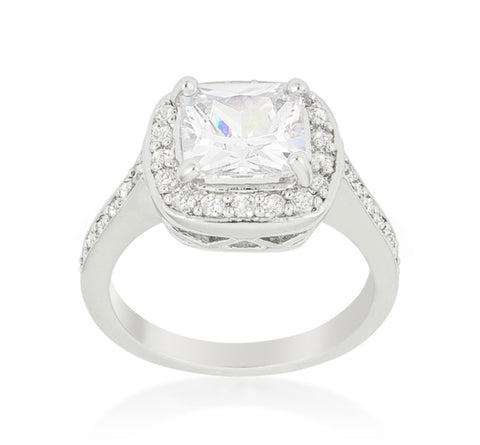 Clarissa Cushion Cut Halo Engagement Statement Ring | 4.5ct | Cubic Zirconia