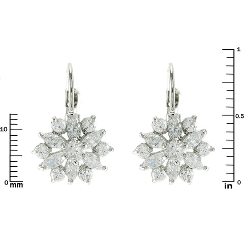 Crilla CZ Flower Drop Earrings