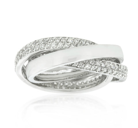 Danal Eternity Band Triplet  CZ Ring | 6ct | Cubic Zirconia | Silver