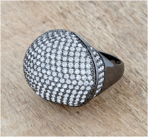 Dara CZ Hematite Dome Cocktail Ring | 6.5ct |Cubic Zirconia - Beloved Sparkles  - 2