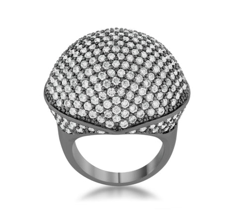 Dara CZ Hematite Dome Cocktail Ring | 6.5ct | Cubic Zirconia | Hematite