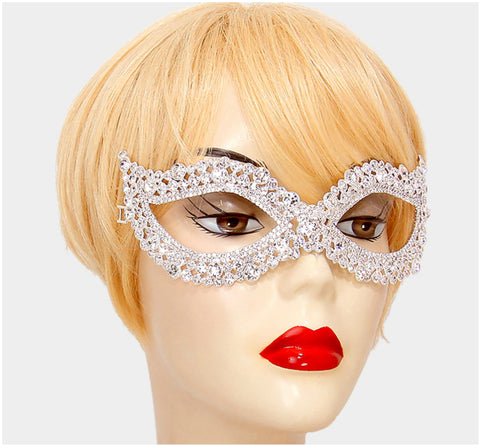 Darva Circle Cluster Modern Masquerade Mask | Crystal - Beloved Sparkles  - 2