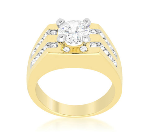 Delon Barracuda Gold  Men Ring | 3ct | Cubic Zirconia | 18k Gold