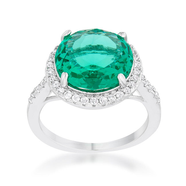 Emie Aqua Green Round Halo Classic Cocktail Ring | 8.5 Carat | Cubic Zirconia - Beloved Sparkles