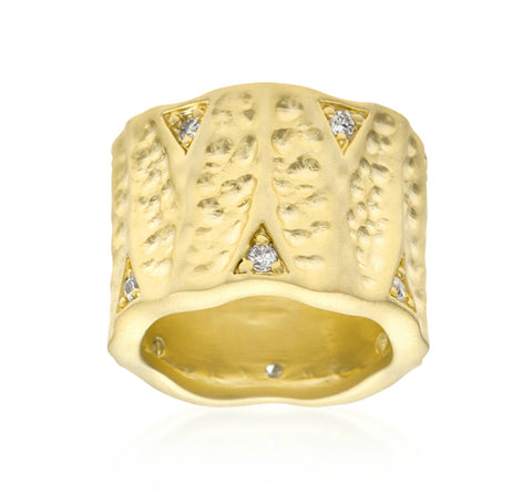 Emilia Textured Matte Golden Eternity Ring | 0.5ct | Cubic Zirconia | 18k Gold - Beloved Sparkles  - 2