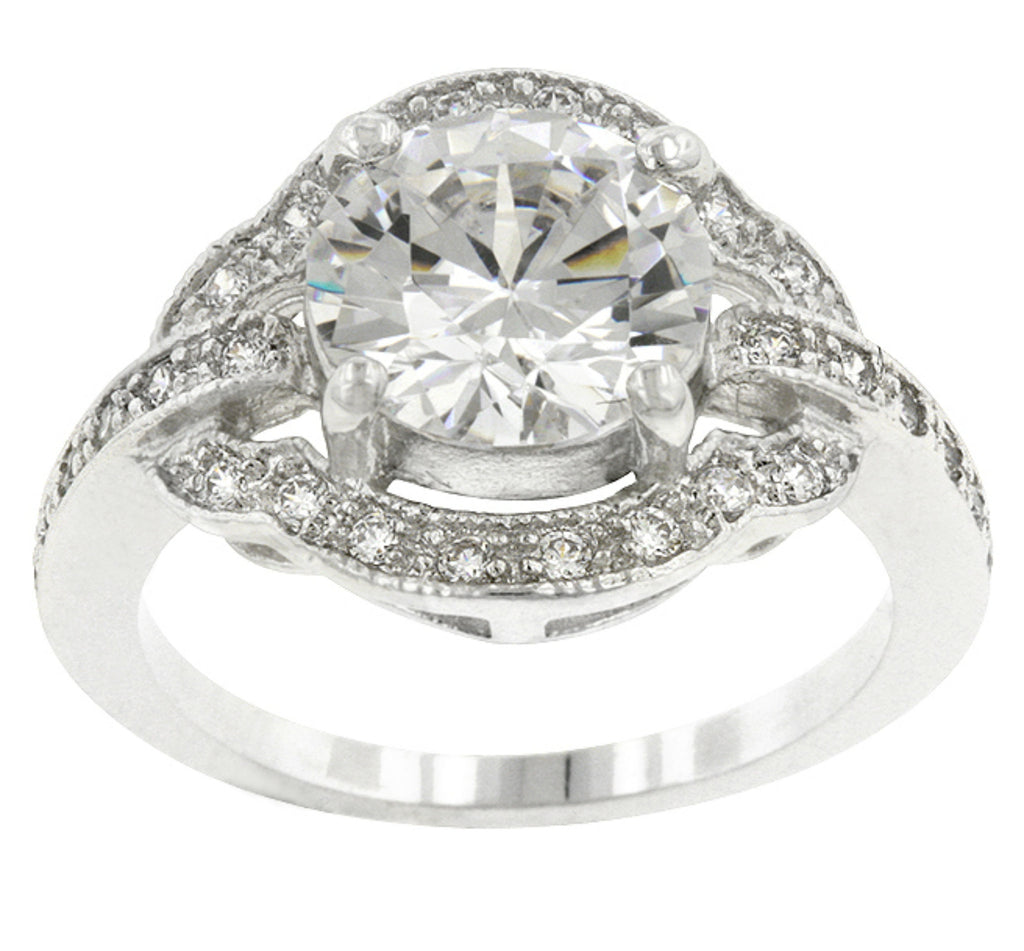 Emma Vintage Antique Engagement Ring | 4.5ct | Cubic Zirconia