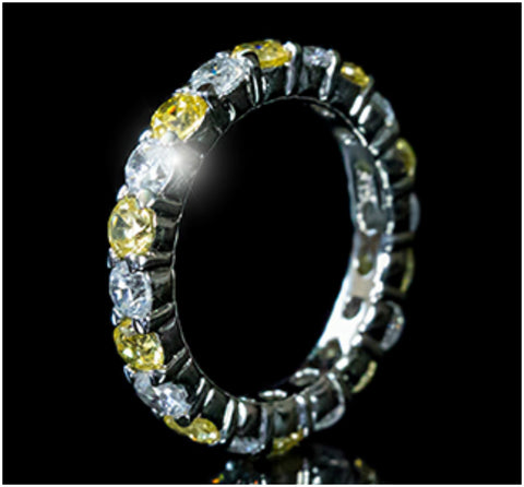 Elizabeth Canary Yellow Eternity Stackable Ring | 4 Carat | Sterling Silver | Cubic Zirconia - Beloved Sparkles  - 4