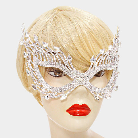 Finola Cat Eye Flame Statement Masquerade Mask | Crystal - Beloved Sparkles  - 2