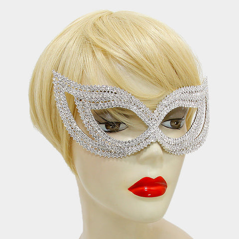 Frances Double Cluster Cat Eye Crystal Silver Masquerade Mask. - Beloved Sparkles  - 2