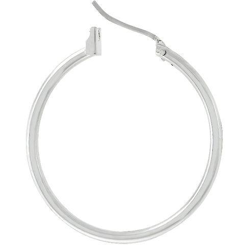 Glem Basic Silvertone Hoop Earrings - 32.5mm