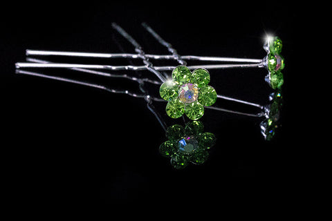 Stella-1 Peridot Green Flower Hair Stick Pin | Rhinestone - Beloved Sparkles  - 2