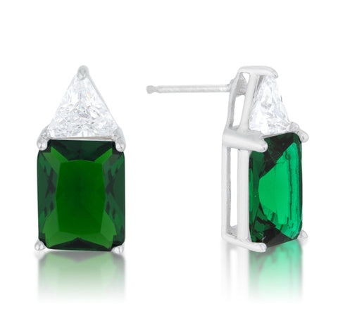 Gretchen Emerald Radiant Cut Stud Earrings | 4ct | Sterling Silver