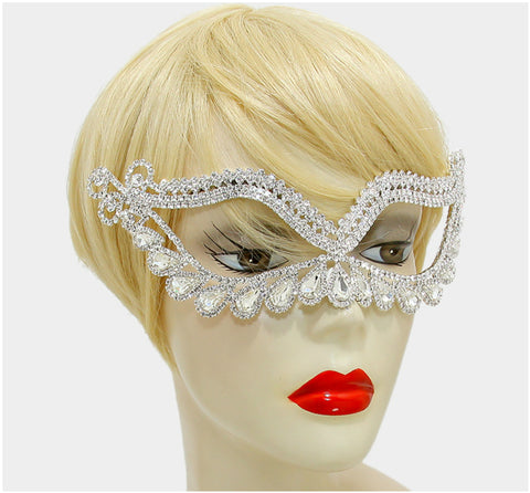 Itica Tear Drop Halo Masquerade Mask | Silver | Crystal - Beloved Sparkles  - 2