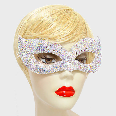 Ivanna Multi Color Cluster Cat Eye Statement Masquerade Mask | Crystal - Beloved Sparkles  - 2
