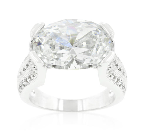 Ivanna Oval Cut Engagement Statement Ring  | 28 Carat | Cubic Zirconia - Beloved Sparkles  - 2