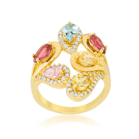 Izebe Multi Color Cluster Gold Cocktail Ring  | 5 Carat | 18k Gold | Cubic Zirconia - Beloved Sparkles  - 2