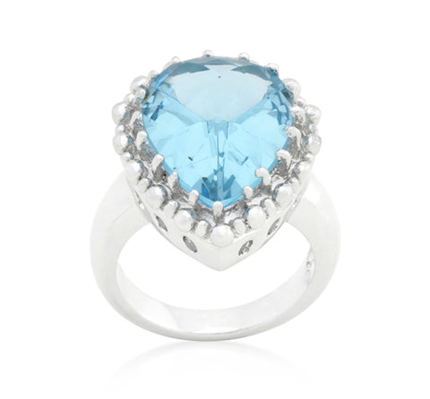 Jasna Solitaire Blue Topaz Cocktail Ring | 8ct | Cubic Zirconia - Beloved Sparkles  - 2
