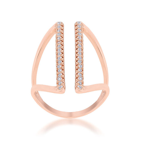 Jena Rose Gold Delicate Parallel Fashion Cocktail Ring | .8 Carat |Cubic Zirconia - Beloved Sparkles  - 2