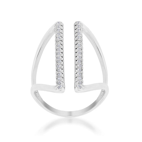 Jena Delicate Parallel Fashion Cocktail Ring | .8 Carat |Cubic Zirconia - Beloved Sparkles  - 2
