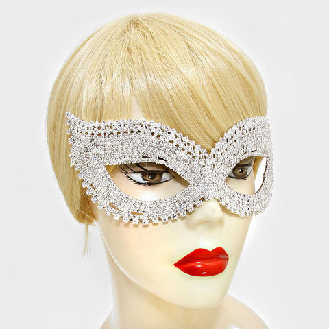 Juleen Cluster Statement Cat Eye Masquerade Mask | Silver | Crystal - Beloved Sparkles  - 2