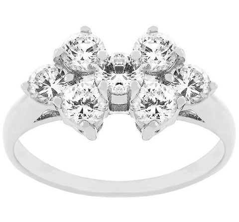 Kacie Round CZ Cluster Fashion Ring | 2ct | Cubic Zirconia | Silver
