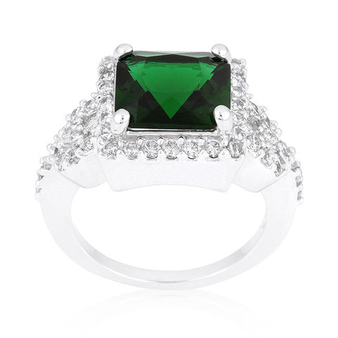 Kara Emerald Green Princess Cut Halo Cocktail Ring | 7 Carat | Cubic Zirconia - Beloved Sparkles  - 3