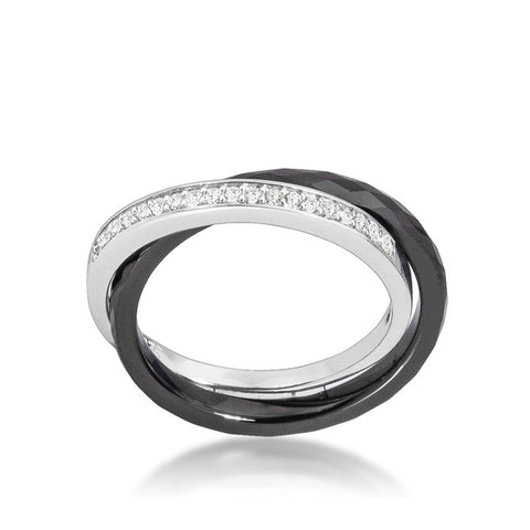 Karri Double Band Black Ceramic Ring | 0.2 Carat | Cubic Zirconia  | Sterling Silver - Beloved Sparkles  - 2
