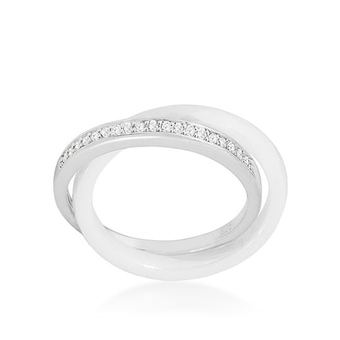 Karri Double Band White Ceramic Ring | 0.2 Carat | Cubic Zirconia | Sterling Silver - Beloved Sparkles  - 2