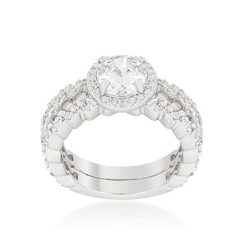 Kassidy Zig Zag Halo Engagement and Wedding Ring Set | 3.25 Carat | Cubic Zirconia - Beloved Sparkles  - 1