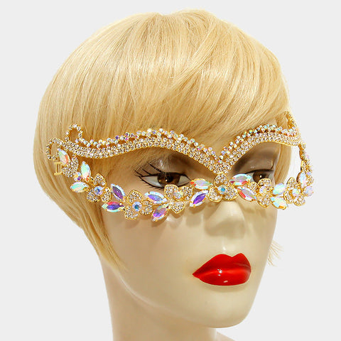Katrice Gold Art Deco Cluster Statement Masquerade Mask | Crystal 1 - Beloved Sparkles  - 2