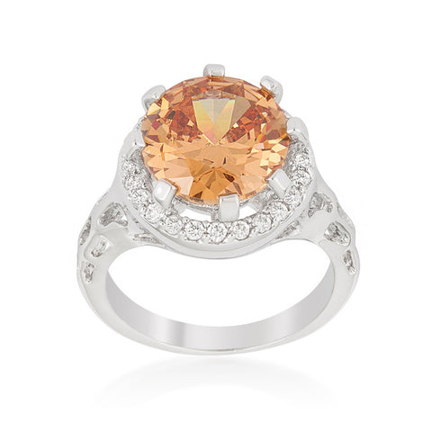 Kavita Round Champagne Halo Cocktail Ring  | 5 Carat | Cubic Zirconia - Beloved Sparkles  - 2