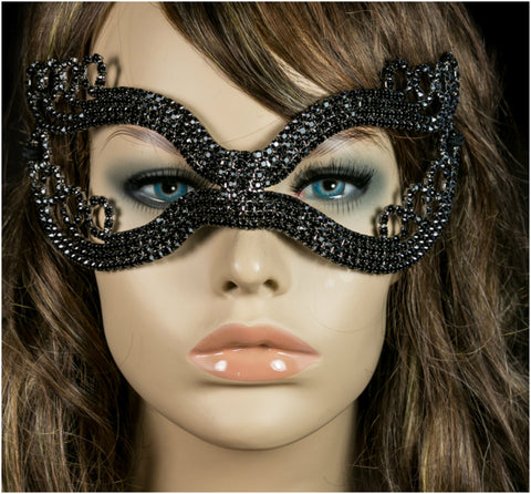 Kinza Crystal Loops Black Masquerade Mask | Black | Crystal - Beloved Sparkles  - 2