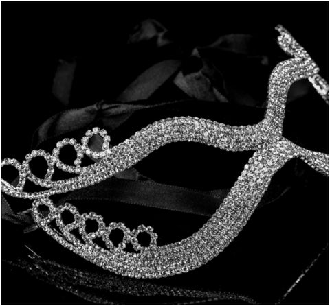 Kinza Crystal Loops Silver Masquerade Mask | Silver | Crystal - Beloved Sparkles  - 2