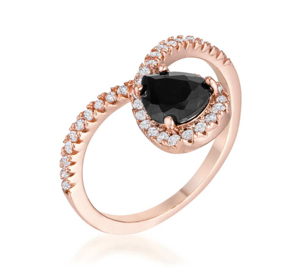 Ladda Rose Goldtone Chevron  Black Onyx CZ Ring | 2.15ct | Cubic Zirconia | Rose Gold