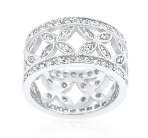 Latesha Elegant Floral Eternity Band Ring | 3.5ct | Cubic Zirconia - Beloved Sparkles  - 2