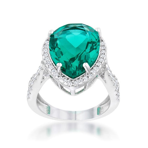 Laura Aqua Green Pear Halo Classic Cocktail Ring | 10 Carat | Cubic Zirconia - Beloved Sparkles  - 2
