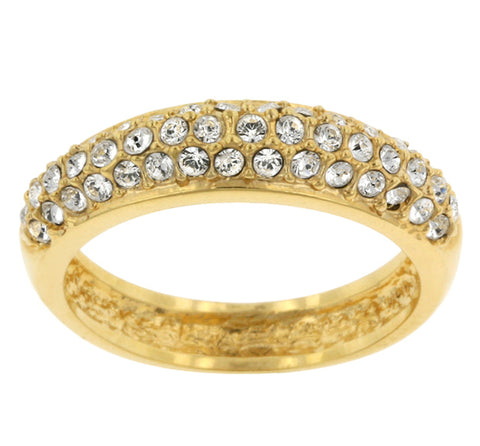 Letsey Pave CZ Goldtone Band Ring | 1.5ct | Cubic Zirconia | 18k Gold