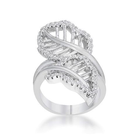 Lina Leaf Wrap Contemporary Fashion  Ring | 1 Carat | Cubic Zirconia - Beloved Sparkles  - 2