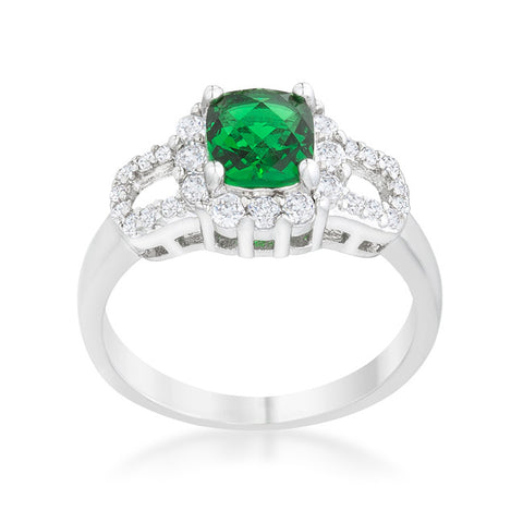 Liz Emerald Green Classic  Cocktail Ring  | 2 Carat | Cubic Zirconia - Beloved Sparkles  - 1