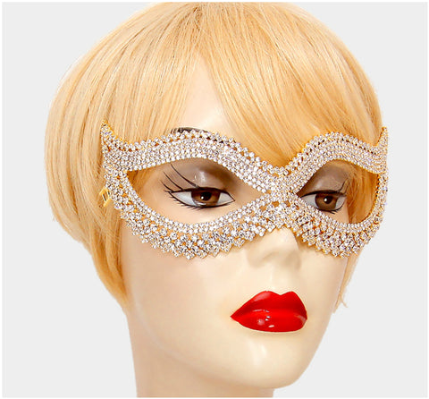 Leeza Classic  Cat Eye Masquerade Mask | Gold | Crystal - Beloved Sparkles  - 2