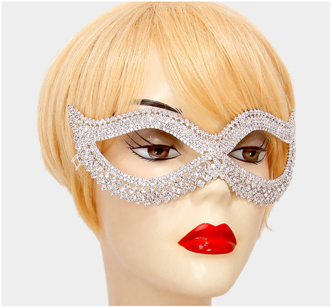 Leeza Classic  Cat Eye Masquerade Mask | Silver | Crystal - Beloved Sparkles  - 3