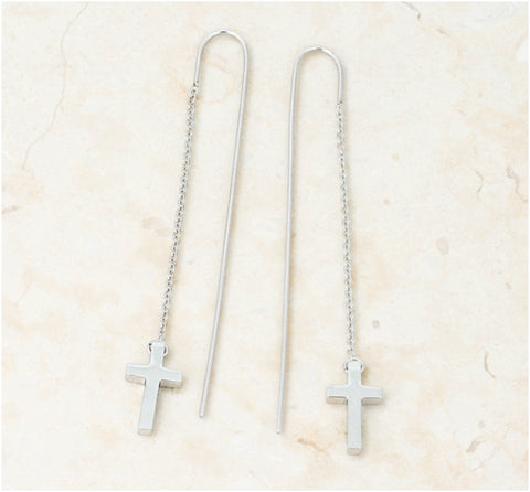 Marylou Stainless Steel Cross Threaded Drop Earrings | Stainless Steel - Beloved Sparkles