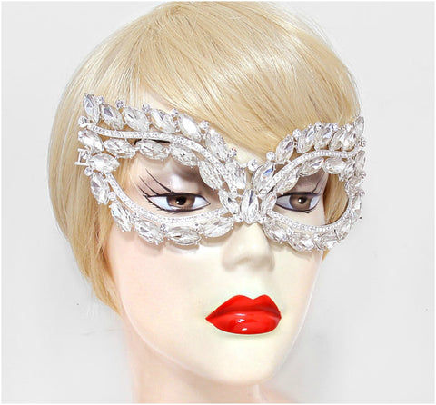 Mattie Marquise Cluster Masquerade Mask | Silver | Crystal - Beloved Sparkles  - 2