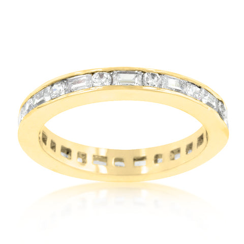 Miral Alternating CZ Baguette 18k Gold Eternity Ring