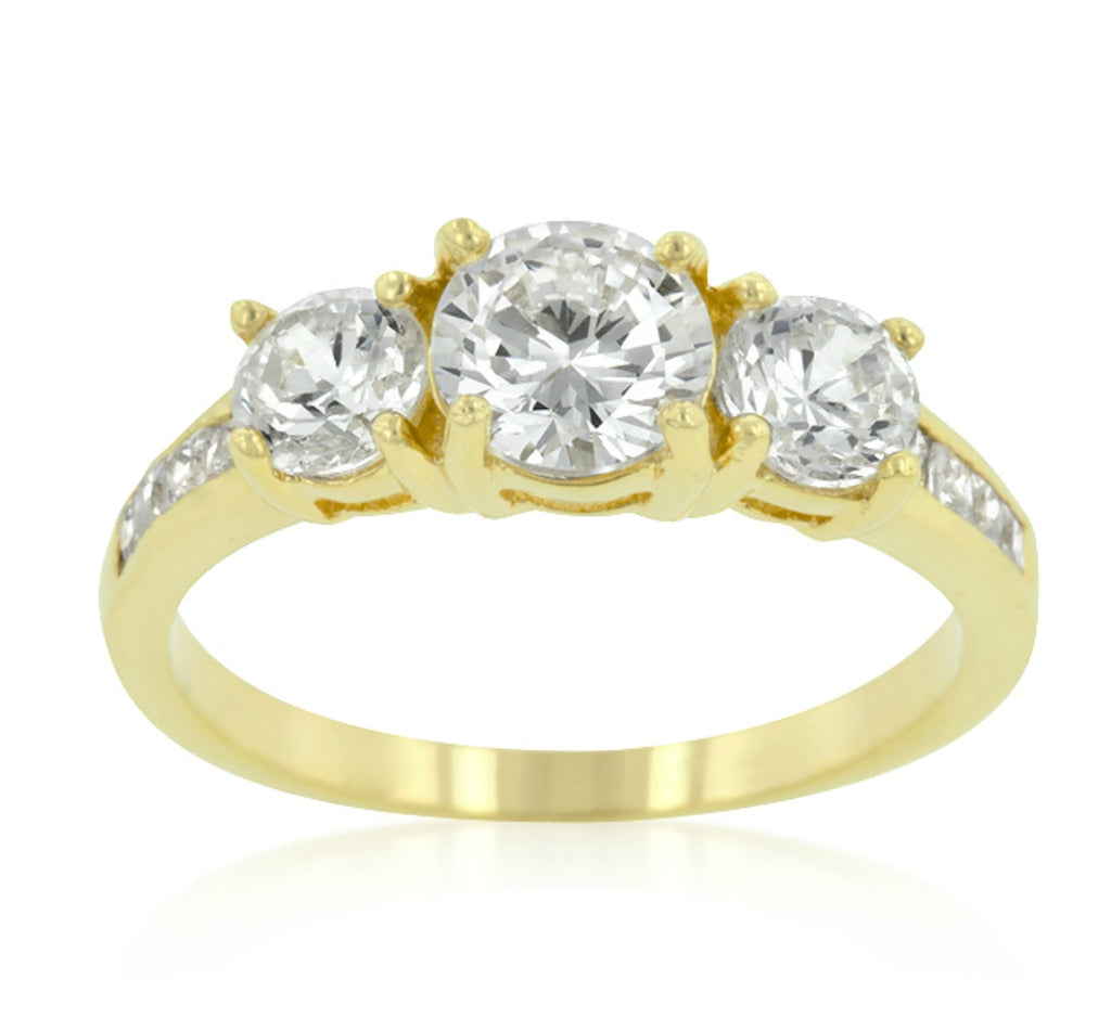 Misty Three Stone Gold Engagement Ring | 3.3ct | Cubic Zirconia  | 18k Gold - Beloved Sparkles