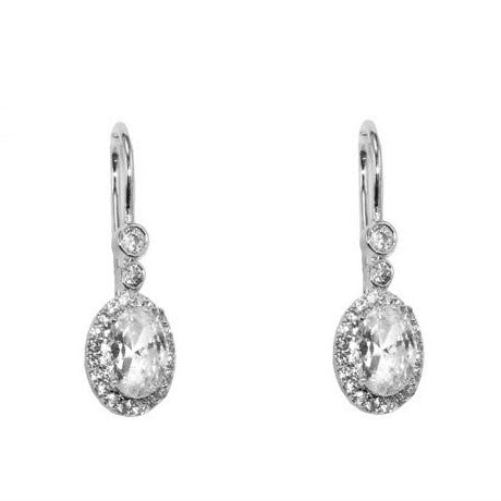 Moneek Oval Halo Drop Earrings