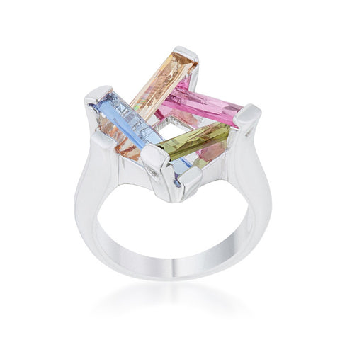 Myra Multicolor Cluster Cocktail Ring | 10ct | Cubic Zirconia - Beloved Sparkles  - 2